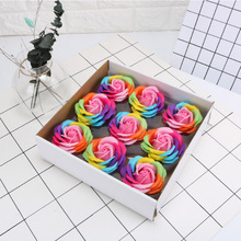 9pcs/lot Soap Flower Head Colorful Rose Artificial  For Surprise Romantic Bath 5 Layers Fake