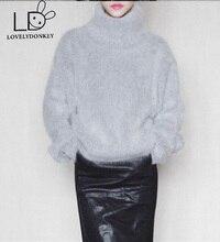 LOVELYDONKEYNew genuine mink cashmere sweater women cashmere pullovers knitted pure mink jacket free shippingM623