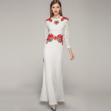 Brand new design women's party dress high quality embroidered floral lace dress Summer long sleeves maxi dress A206