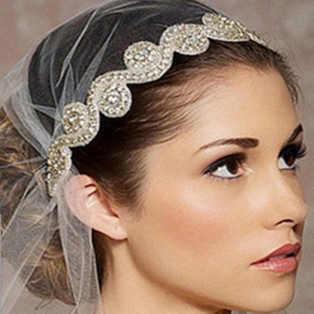 Handmade Crystal Head Pieces Rhinestone Bridal Hair Bands Ribbon Wedding  Headbands For Women Bride Hair Accessories 0515f87b492