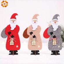 1PCS DIY Christmas Felt Cloth Santa Claus Wooden Pendant Ornaments 3 Colors Wood Crafts For Xmas Tree Party Decoration