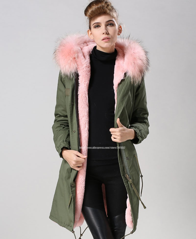 Factory wholesale price Women's Vintage Retro Fur Hooded Military Parka Jacket Coat with pink lined and collar fur mr 27