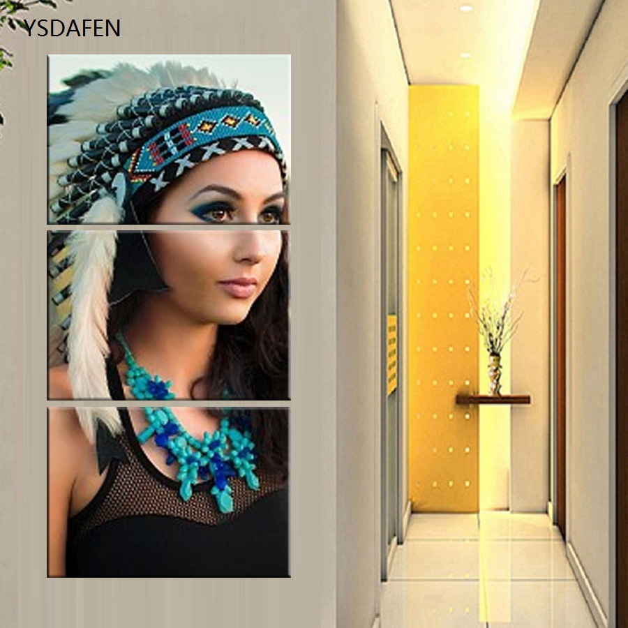 HD printed abstract paintings 3 piece canvas art American Indian ...