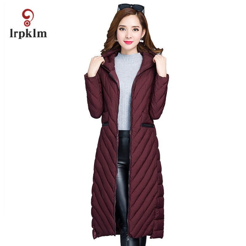 2017 Winter Women Light Jacket Female Slim Long Parkas Ladies Hooded Collar Cotton Padded Coat Ultra Warm Outerwear PQ037 купить