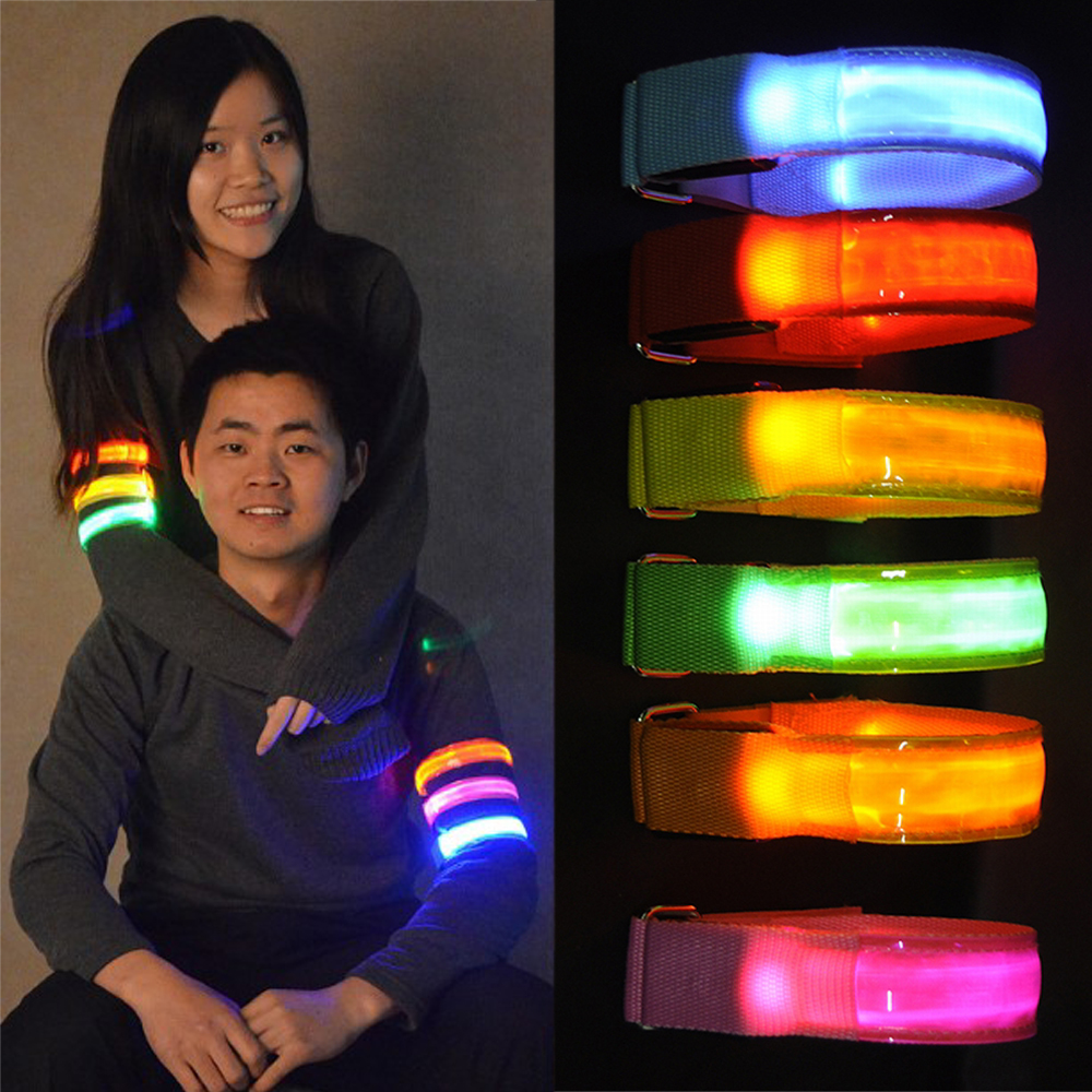 Outdoor Sports Night Running Armband Led Light Safety Belt Arm Leg Warning Wristband Cycling Bike Bicycle Party