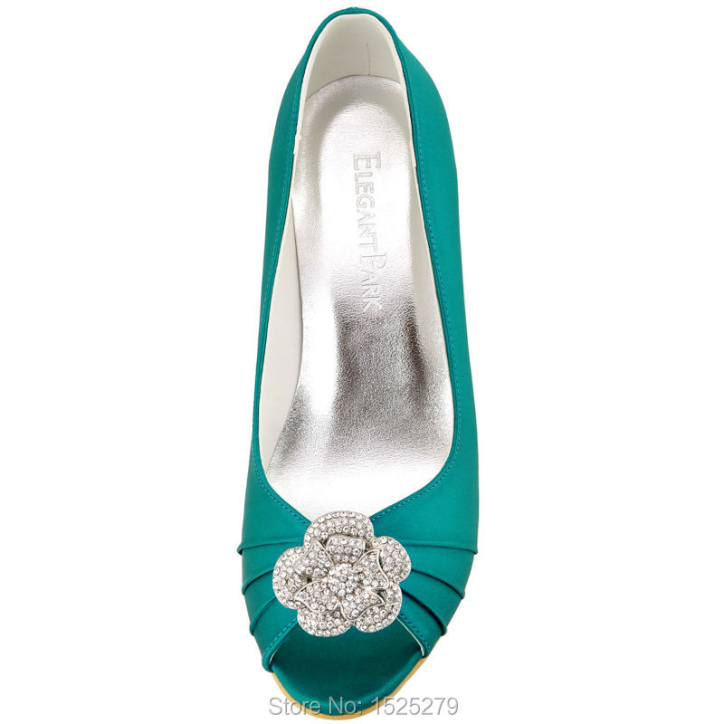 7d2e5b822022 WP1547 Teal Lady Bride Bridesmaids Girls Peep Toe Wedges Heels Pumps  Rhinestones Clips Detachable Evening Party Women Shoes-in Women s Pumps  from Shoes on ...