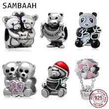 Sambaah Best Friend Bears Charms 925 Sterling Silver Bear Hug Pink Heart Beads for Original Pandora DIY Animal Bracelet Jewelry