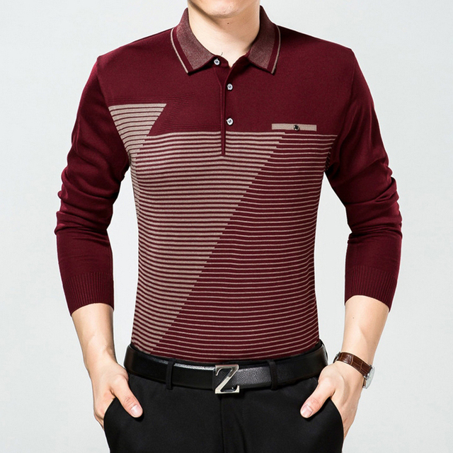 Wholesale 2016 Autumn Long-sleeve Polo Shirt Men Fashion Striped Polo Men Turn-down Collar Long -Sleeve Shirt Plus Size M-3XL