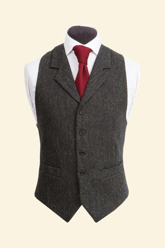 Винтажные черные шерстяные твидовые жилеты, тонкие мужские костюмы, жилеты на заказ, костюм без рукавов, пиджак, мужской свадебный жилет, Мужская одежда, жилет - Цвет: only vest