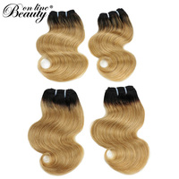 Beauty On Line Ombre Peruvian Straight Hair Bundles 50g Pre colored 100% Human Hair Extensions 4Pieces/Lot Non Remy Hair