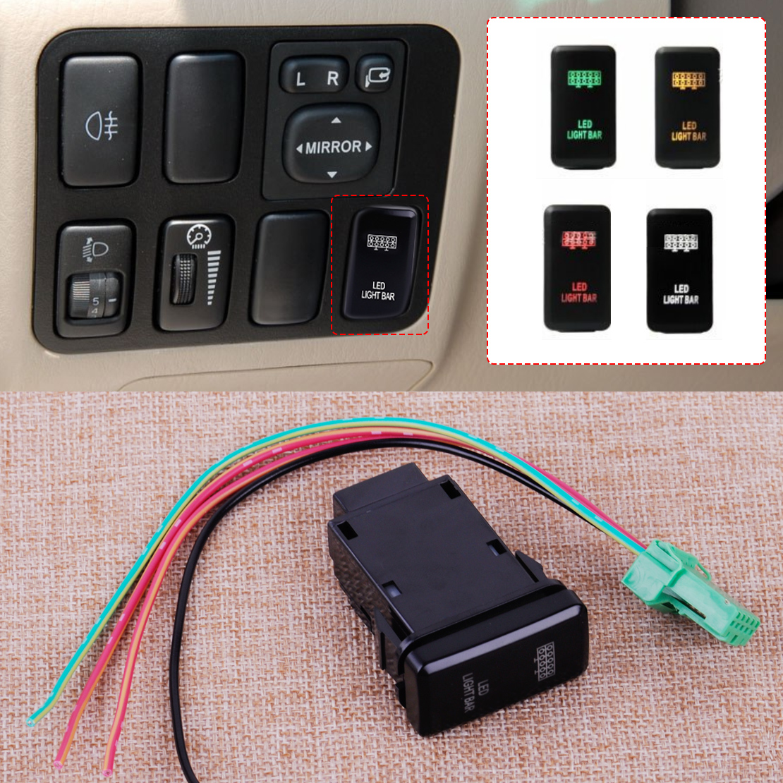 Car 12v 4 Wiring Blue Led Light Bar Switch On Off For Toyota Trailer Converter Citall Fog Push Button With Harness Wire Fit