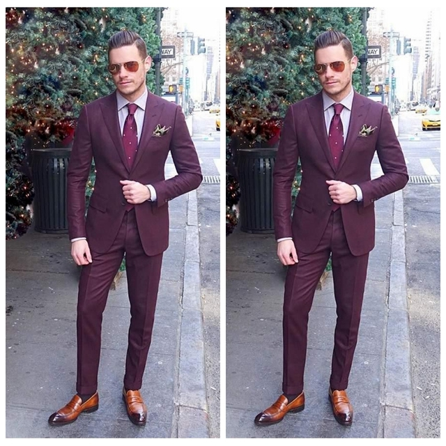 610f91d3b3 High Quality 2019 Formal Custom Online Mens Business Suit Two Pieces Wedding  Tuxedos Slim Fit Groom Wear (Jacket+Pants)