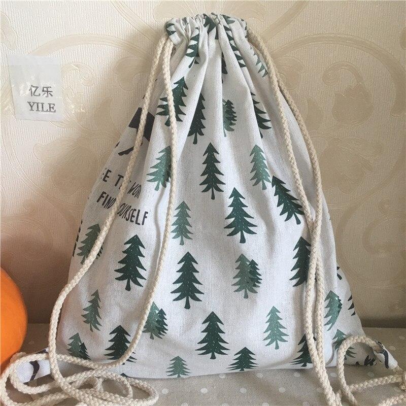 YILE Cotton Linen Drawstring Backpack Travel Bag Student Book Bag Pine Tree Deer B311
