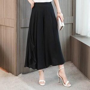 Image 4 - Baskı geniş bacak pantolon kadın elastik bel etek pantolon gevşek geniş bacak pantolon kadın artı boyutu 4XL pamuk ayak bileği uzunluğu pantolon