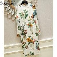 Svoryxiu взлетно посадочной полосы высокого класса 100% шелк платья для женщин женские элегантные индивидуальный заказ ваза печати осень зим