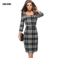 2017 herbst Kleid Plus Größe Frauen Langarm Kleid Bandage Schwarz weiß Gitter Büro Bodycon Reizvollen Beiläufigen Vintage Winter Kleid