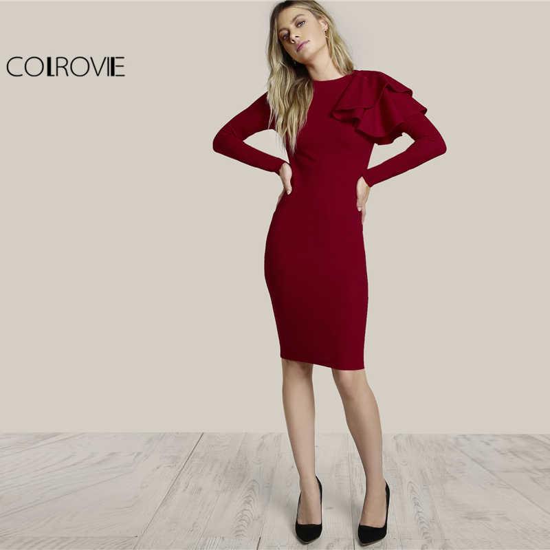 a2ed0116576 ... COLROVIE 2019 вечерние платье бордовый с круглым вырезом и длинными  рукавами элегантное платье футляр Для женщин ...