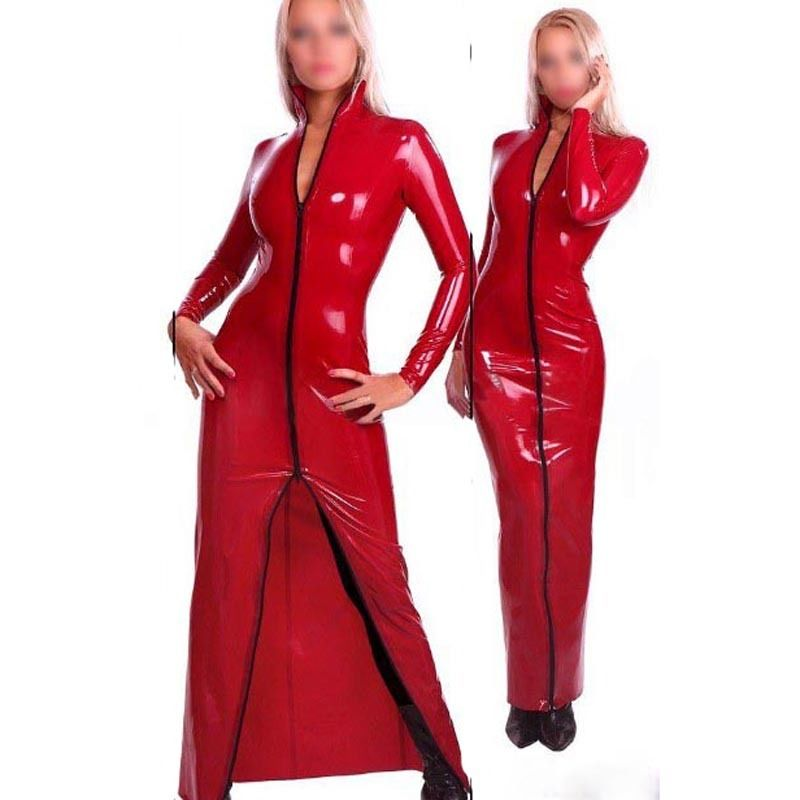 Red Latex Dress Rubber Evening Dresses  Party Long Sleeve Gown Gummi 0.4mm