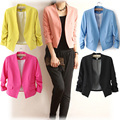 Female Jackets 2017 Candy Color Basic Jackets Cardigan Office Lady Outwear Coat Tops Feminino Roupas Femininas Casacos Femininos