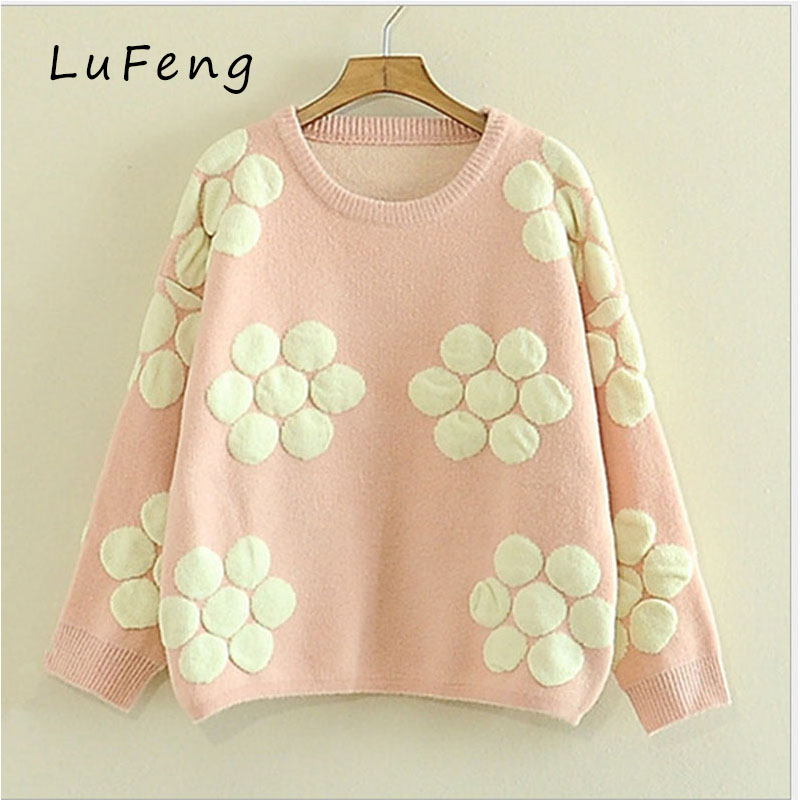 Winter Flowers Sweater Women Pink Green Wool Pullover Kawaii Sweets Sueter Mujer Long Sleeve Knitted Slim Christmas 2016815-15