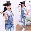 2016 de otoño de ropa para niños niñas pantalones vaqueros causales de encaje denim blue girl jeans trajes para niños niñas niños grandes vaqueros largos pantalones