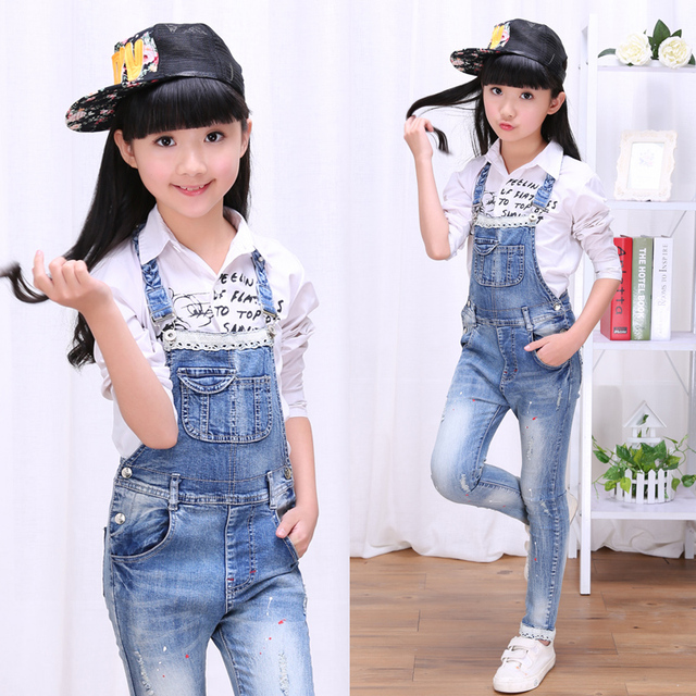 2017 осень детская одежда девушки джинсы причинно кружева джинсовые синие джинсы девушка комбинезоны для девочек большие дети джинсы длинные брюки