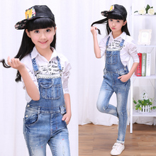 2017 autumn children s clothes girls jeans causal lace denim blue girl jeans overalls for girls