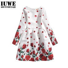 Girl Dresses Summer 2016 Dresses for Girls of 5-12T Years Princess Floral dresses Long Sleeve Girls para Ball Gown Girls Clothes