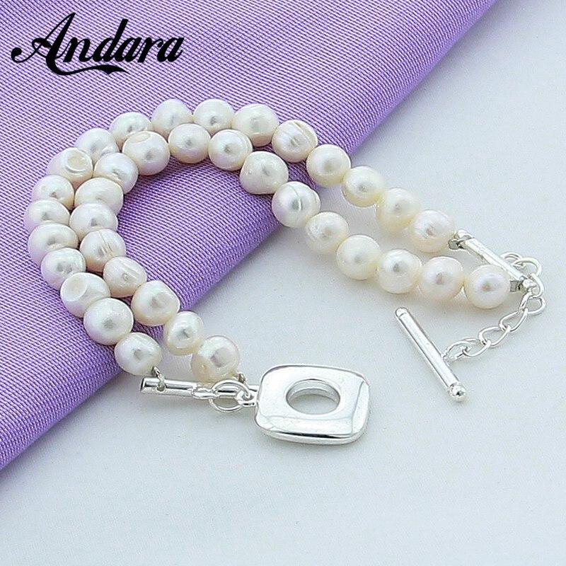 Double Row Pearl Bracelet 925 Sterling Silver Fashion Freshwater Pearl Bracelets For Women Wedding Party