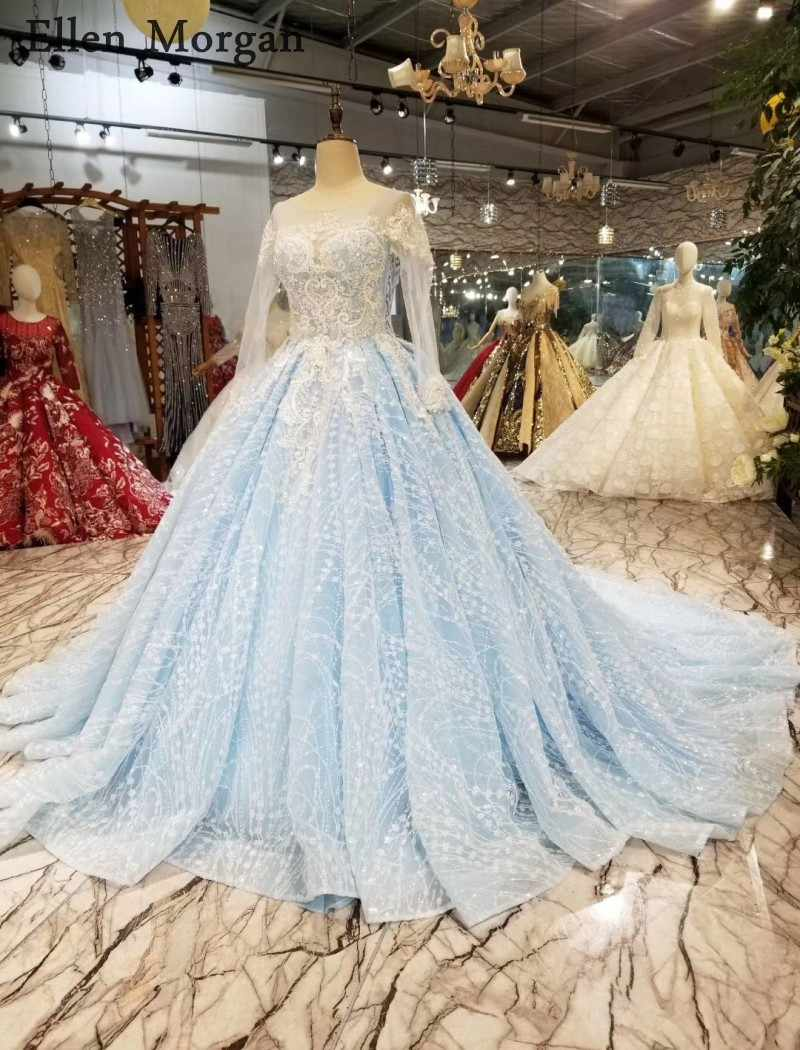 Colorful Long Sleeves Ball Gowns Wedding Dresses Boat Neck Sky