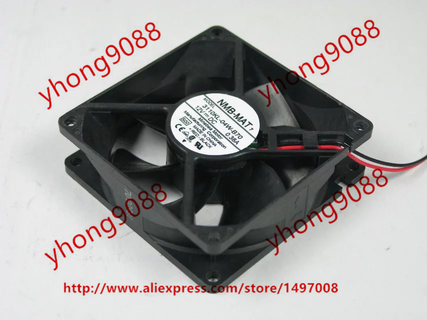 NMB-MAT 3110KL-04W-B70, S00 DC 12V 0.38A     80x80x25mm Server Square  Fan nmb mat 3110kl 04w b49 b02 b01 dc 12v 0 26a 3 wire server square fan