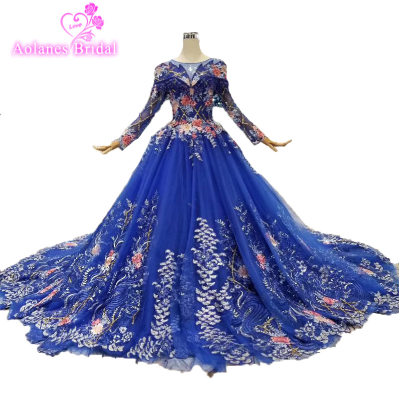 Gorgeous Colors Lush Lace Prom Dresses 2019 Royal Blue Beaded Crystal Long Ball Gown Dubai Prom Gowns Saudi Arabic Vestido Longo