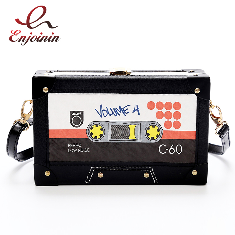 Retro Tape Style Personal Fashion pu leather Box ladies clutch bag Shoulder Bag Handbag flap female crossbody messenger bag new punk fashion metal tassel pu leather folding envelope bag clutch bag ladies shoulder bag purse crossbody messenger bag