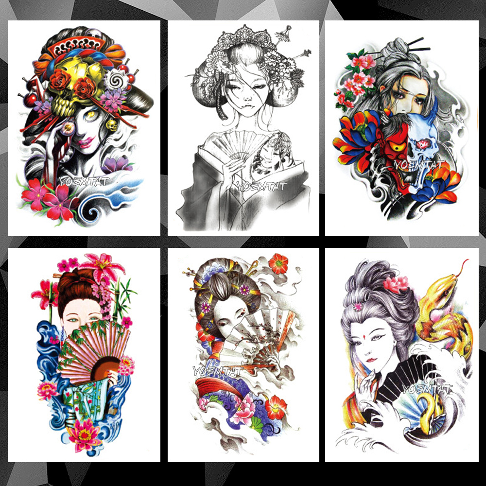 Waterproof Temporary Tattoo Sticker Japanese Geisha Pattern Tattoo Water Transfer Girl Cool Body Art Fake Tattoo For Women Men