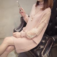 2019 Autumn Winter Women Lace Patchwork Lantern Sleeve Tricot Sweater Dress Female Elegant Solid Knitted Pullover Vestidos K164