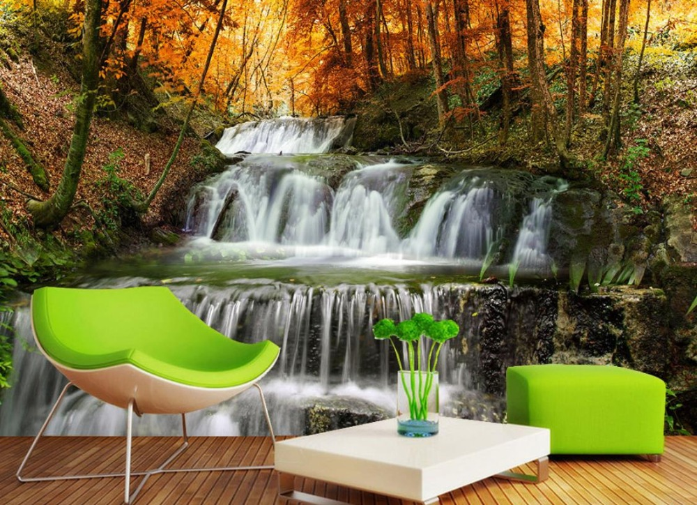 Farmhouse Style Mural Wallpaper Forest Waterfall 3d-landscape-wallpaper 3D Stereoscopic Sofa Living Room Bedroom TV Backdrop custom green forest trees natural landscape mural for living room bedroom tv backdrop of modern 3d vinyl wallpaper murals