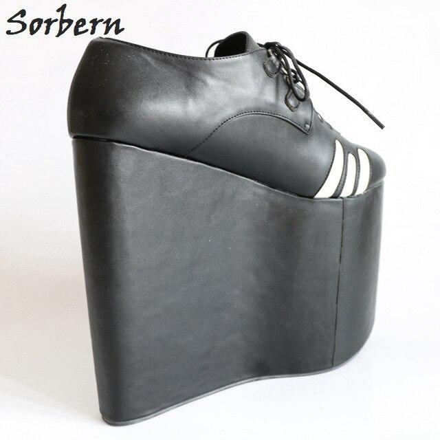 Sorbern Noir Bout Pointu Super Haute Coins de Talon Épais Plate-Forme de Dames Dentelle-Up Patché Personnalisé Couleurs Fétiche Haute talon Chaussures