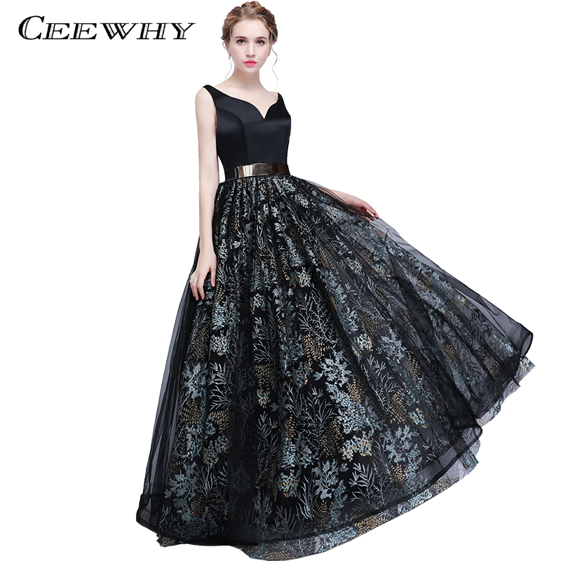 CEEWHY Double Shoulder Sexy Backless Black Prom Dresses V-Neck Evening Gown Luxury Floral Evening Dress Robe de Soiree Longue(China)