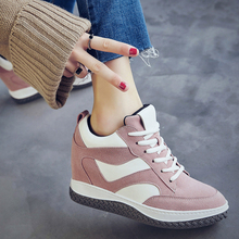 Free Shipping Women's Genuine Leather Casual Shoes 5cm Height-increasing Lacing Outdoor Shoes for Autumn and Winter Size 35~40