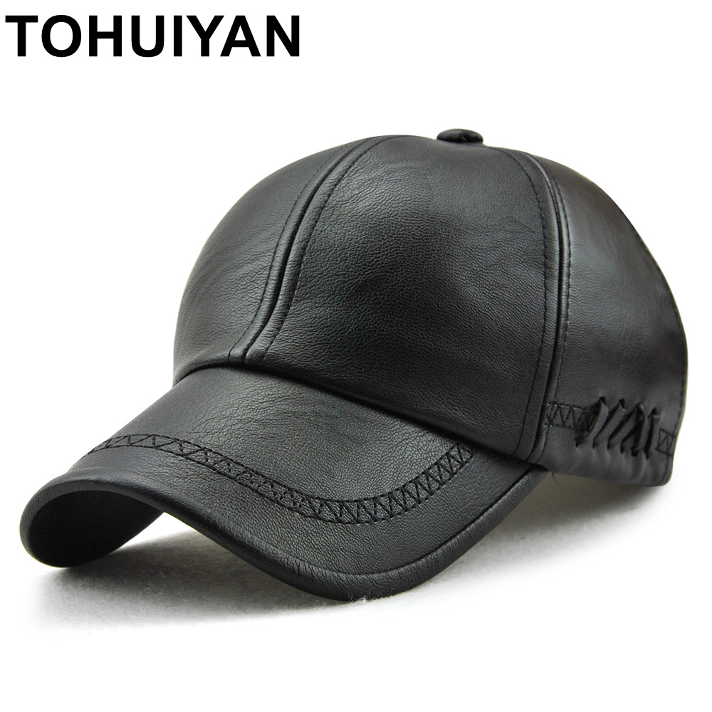 2f68ffe0e37 TOHUIYAN Mens Leather Baseball Cap Classic Curved Brim Snapback Hat Autumn  Winter Warm Caps Adjustable Bone