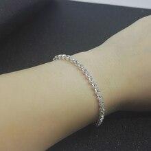 Fashion zircon bracelet shiny crystal silver bracelet chain for women girls charm female wedding seaside jewelry gift wholesale недорого