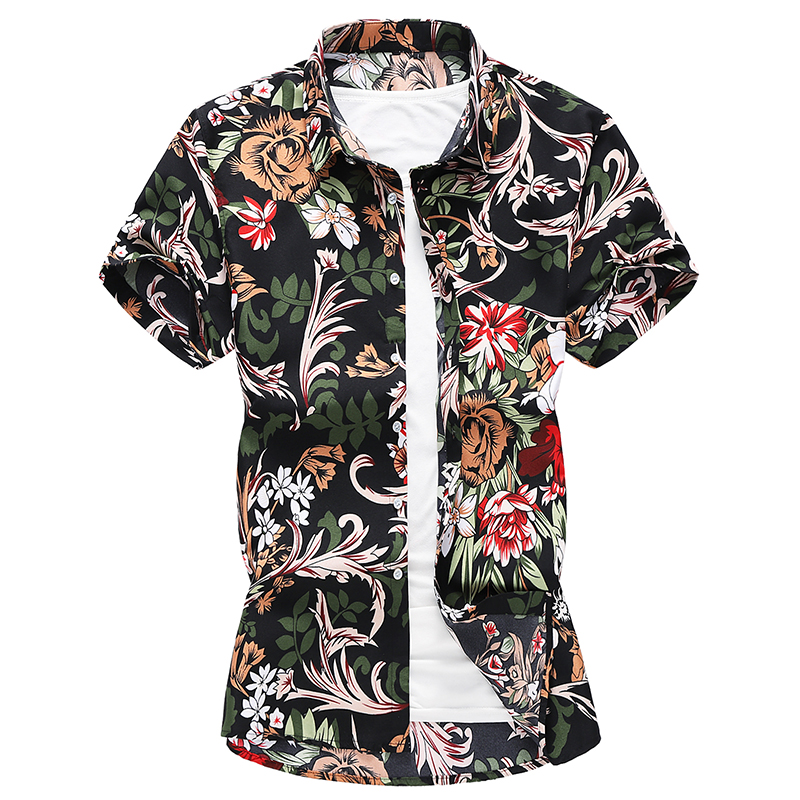 2019 Summer Fashion Men 39 s Shirt Slim Fit Short Sleeve Floral Shirt Men Clothing Trend Men 39 s Casual Flower Shirts Plus Size M 7XL in Casual Shirts from Men 39 s Clothing