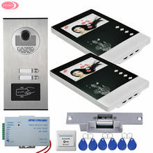 For 2 Apartments Home Video Door Phone +RFID Access Door Camera Video Intercom With 2 Monitors +Electric Strike Lock System Unit