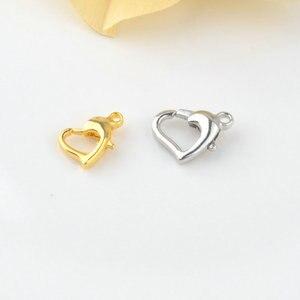 10 шт. 8 мм 10 мм латунные застежки в форме сердца дельфина для омаров, ожерелья и браслеты, застежки для изготовления ювелирных изделий, аксесс...