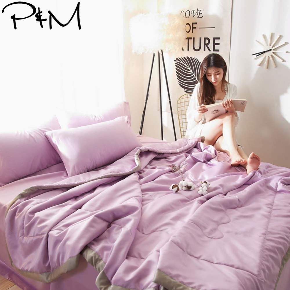 2019 Fresh Purple Quilting Quilt Set Satin Polyester Fabric Polyester Twin Queen Size Summer Comforter Bedsheet Pillowcases