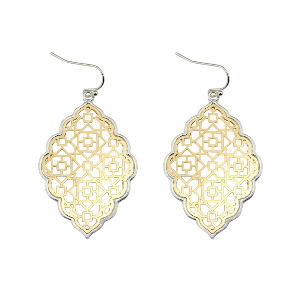 Fashion Large Gold Filigree Statement Earrings Geometric Trendy Two Tone Moroccan Earrings for Women Designer Jewelry