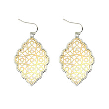 Fashion Large Gold Filigree Statement Earrings Geometric Trendy Two Tone Moroccan Earrings for Women Designer Jewelry Wholesale