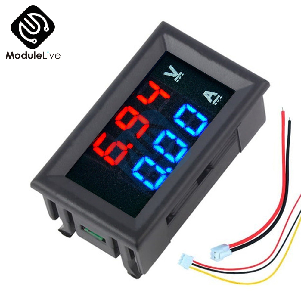Mini Digital Voltmeter Ammeter DC 100V 10A Panel Amp Voltage Volt Current Meter Tester 0.56'' 0.56inch Blue Red Dual LED Display