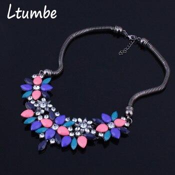 6f8567efbb33 Ltumbe nuevo Maxi cristal flores gota de agua collares colgantes para  mujeres accesorios Bijuterias nueva moda 3 colores
