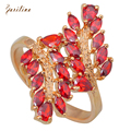 Brilliant Party Jewelry Red Cubic Zirconia Fashion jewelry Yellow Gold Plated Garnet women's Rings size 6 7 8 9 R209